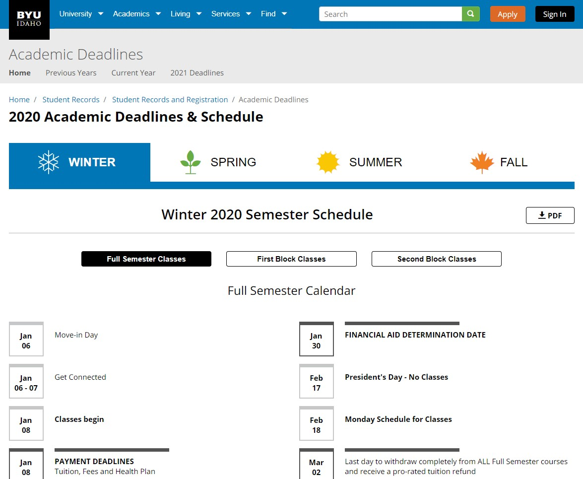 Byui Spring 2022 Calendar.Academic Deadlines Calendar Ux Design Portfolio Jacob Olson